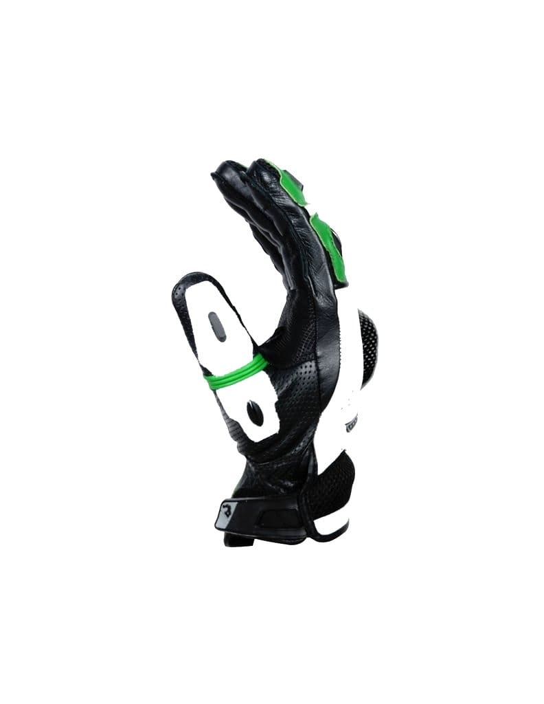 Bela Rocket Short Motorcycle Racing Gloves - Black/Green/White - DublinLeather