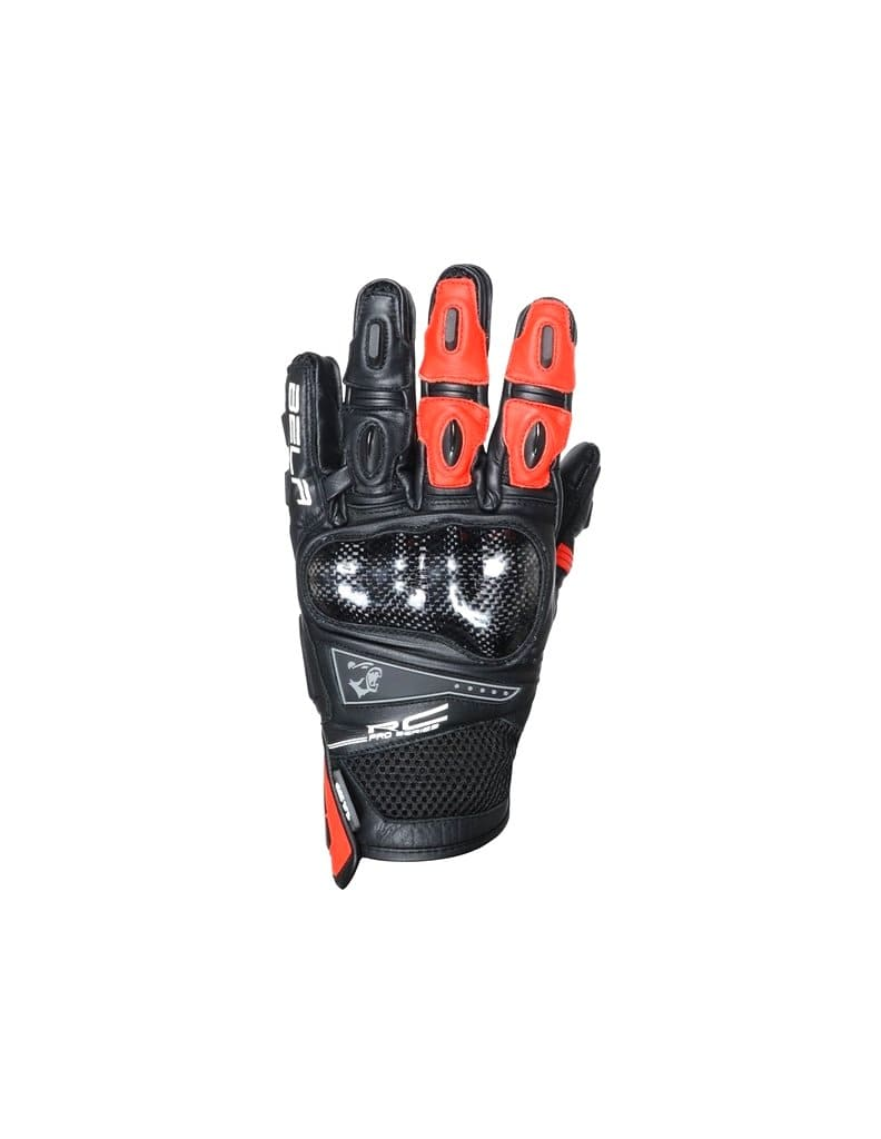 Bela Rocket Short Motorcycle Racing Gloves - Black/Red - DublinLeather