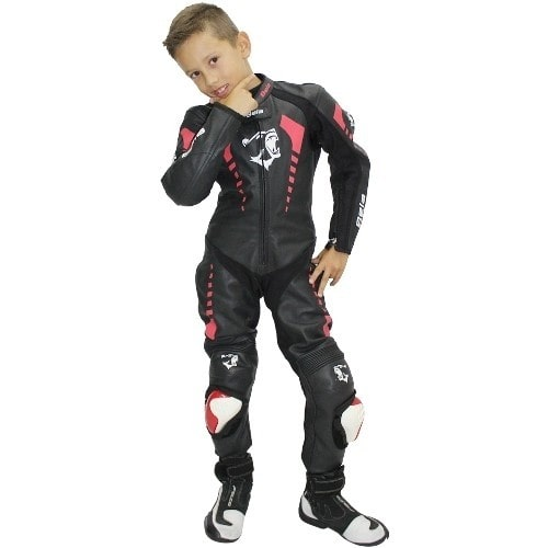 Bela Rollover Kids Motorcycle Cowhide Leather Suit (Black/Fluro Red) - DublinLeather
