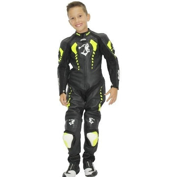 Bela Rollover Kids Motorcycle Cowhide Leather Suit (Black/Fluro Yellow) - DublinLeather