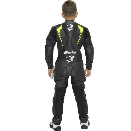 Bela Rollover Kids Motorcycle Cowhide Leather Suit - CE Certified - (Black/Fluro Yellow) - DublinLeather