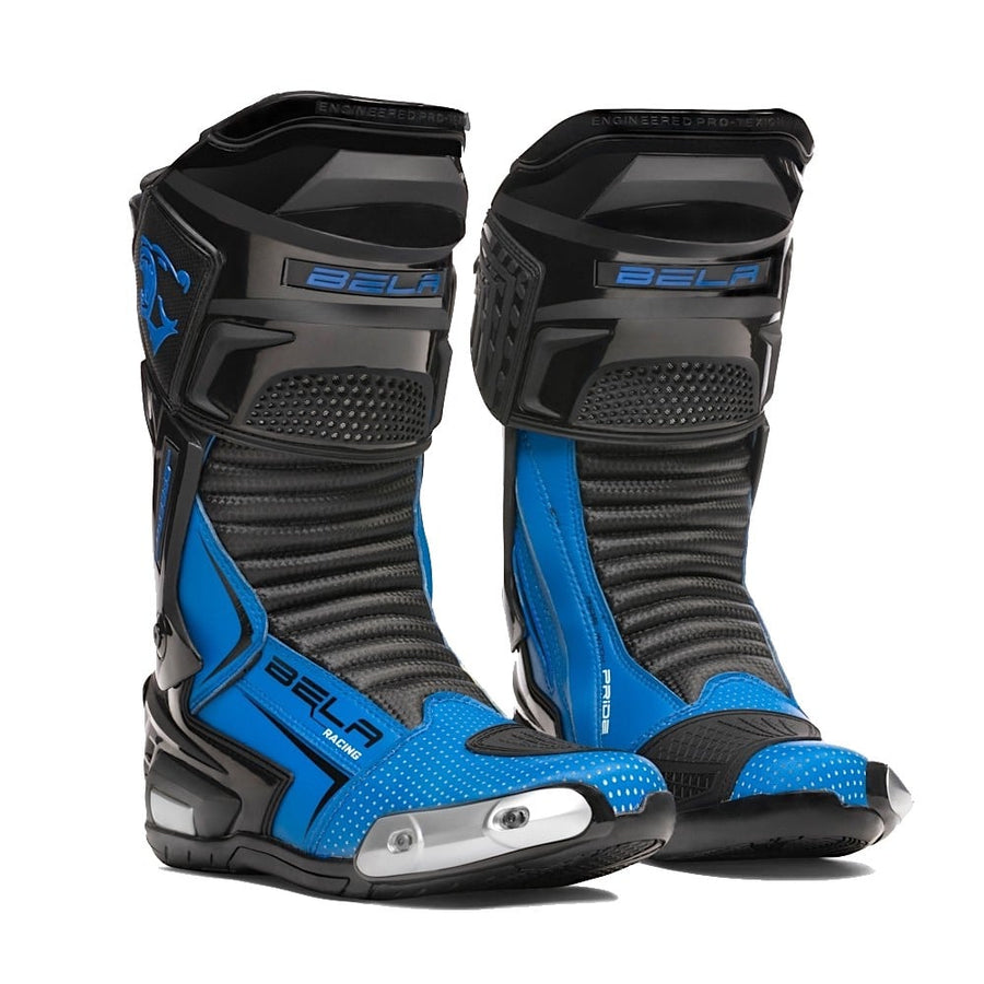 Bela Speedo 2.0 Motorcycle Racing Boots (Black/Blue) - DublinLeather