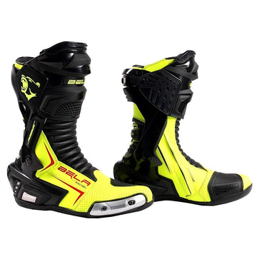 Bela Speedo 2.0 Motorcycle Racing Boots Black Fluro Yellow Leather Dublin Ireland UK