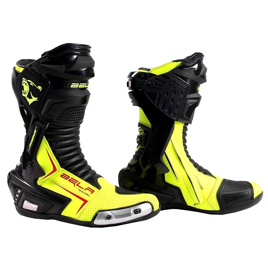 Bela Speedo 2.0 Motorcycle Racing Boots (Black/Fluro Yellow) - DublinLeather
