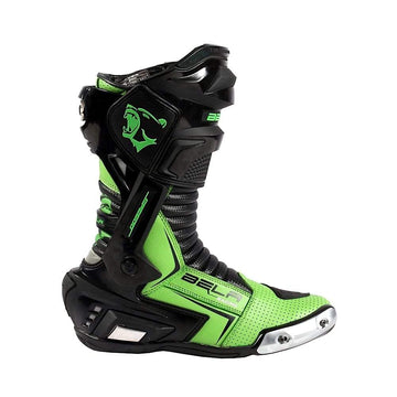 Bela Speedo 2.0 Motorcycle Racing Boots (Black/Green) - DublinLeather