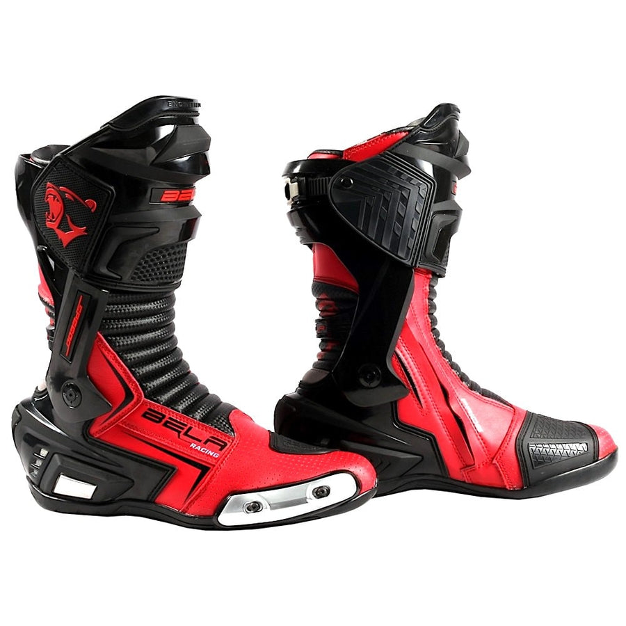 Bela Speedo 2.0 Motorcycle Racing Boots (Black/Red) - DublinLeather