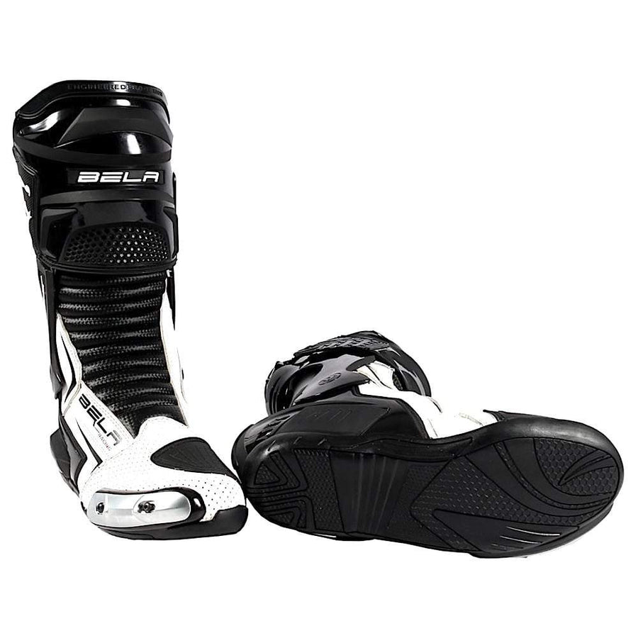 Bela Speedo 2.0 Motorcycle Racing Boots (Black/White) - DublinLeather