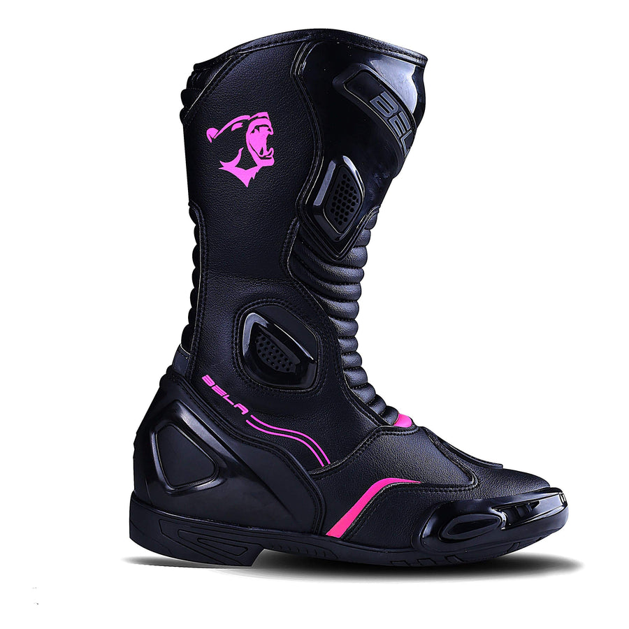 Bela Stripe Lady Motorcycle Racing Boots Black Pink Leather Dublin Ireland UK