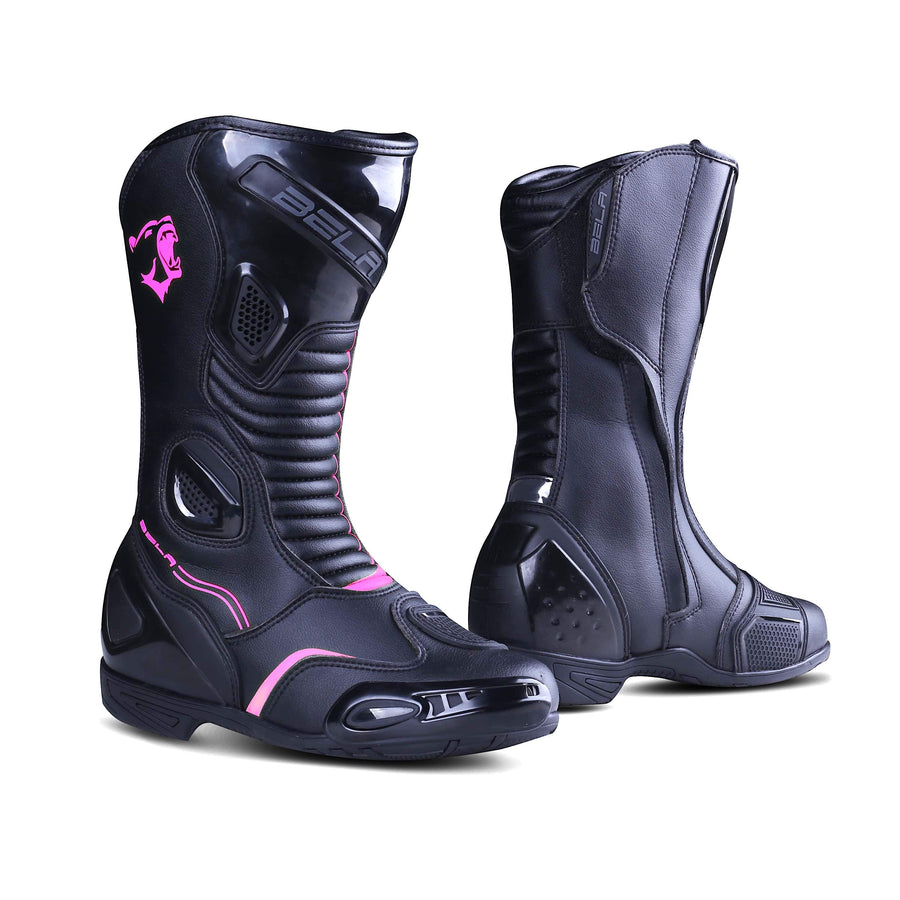 Bela Stripe Lady Motorcycle Racing Boots - Black/Pink - DublinLeather