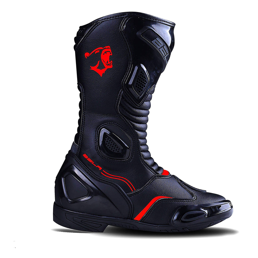 Bela Stripe Lady Motorcycle Racing Boots - Black/Red - DublinLeather