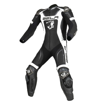 Bela X-Race High Performance Motorcycle Racing 1PC Leather Suit - Black/White