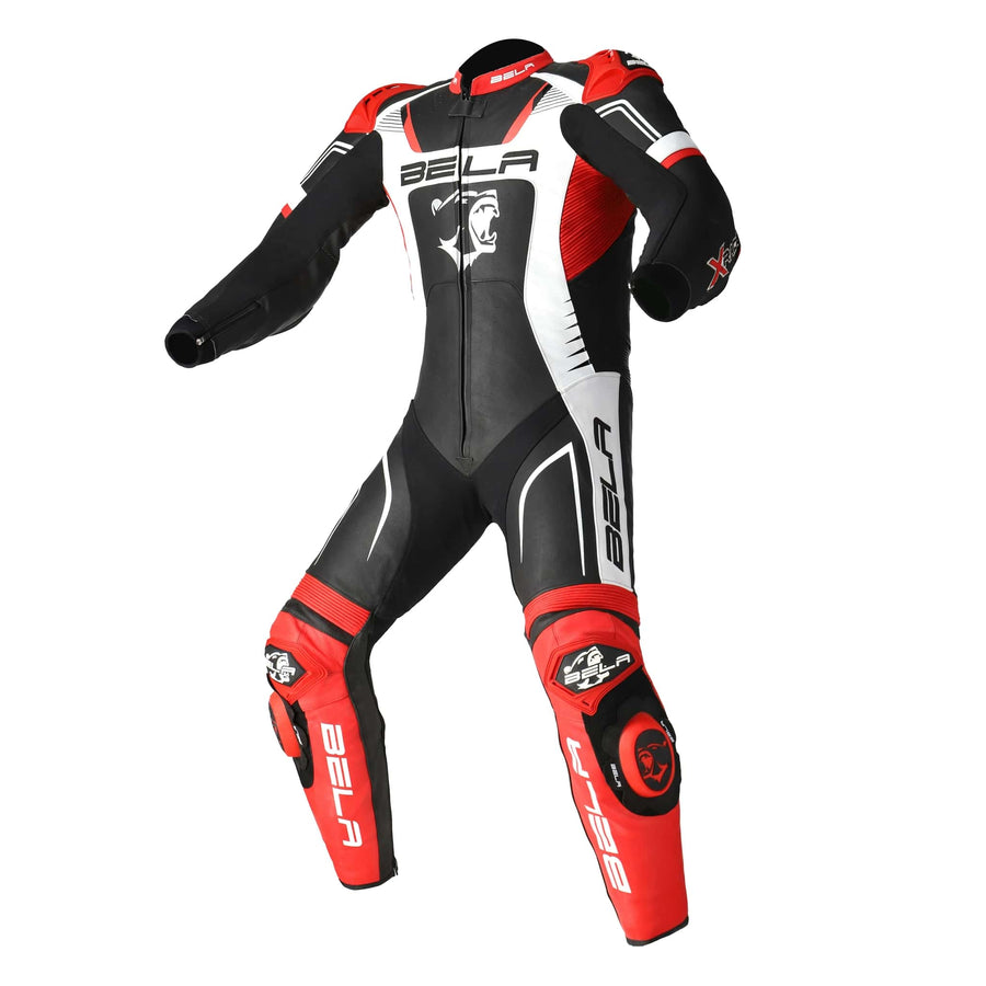 Bela X-Race High Performance Motorcycle Racing 1PC Leather Suit - Black/White/Red