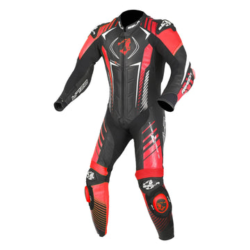 Bela Aragon High Performance 1piece Motorcycle Racing Leathers- Black/Red