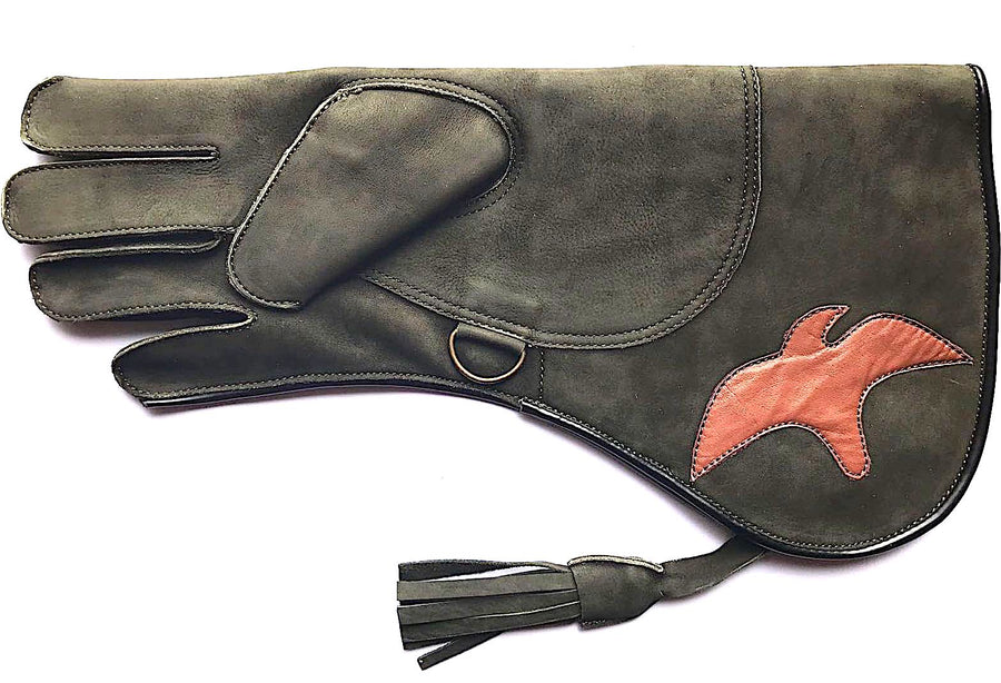 Olive Green Eagle Cowhide Triple Layer Premium 17 Inch Glove - Falconry - DublinLeather