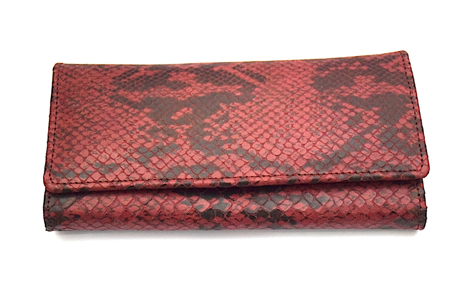 Snake Pattern Leather Clutch - Magenta/Black - DublinLeather