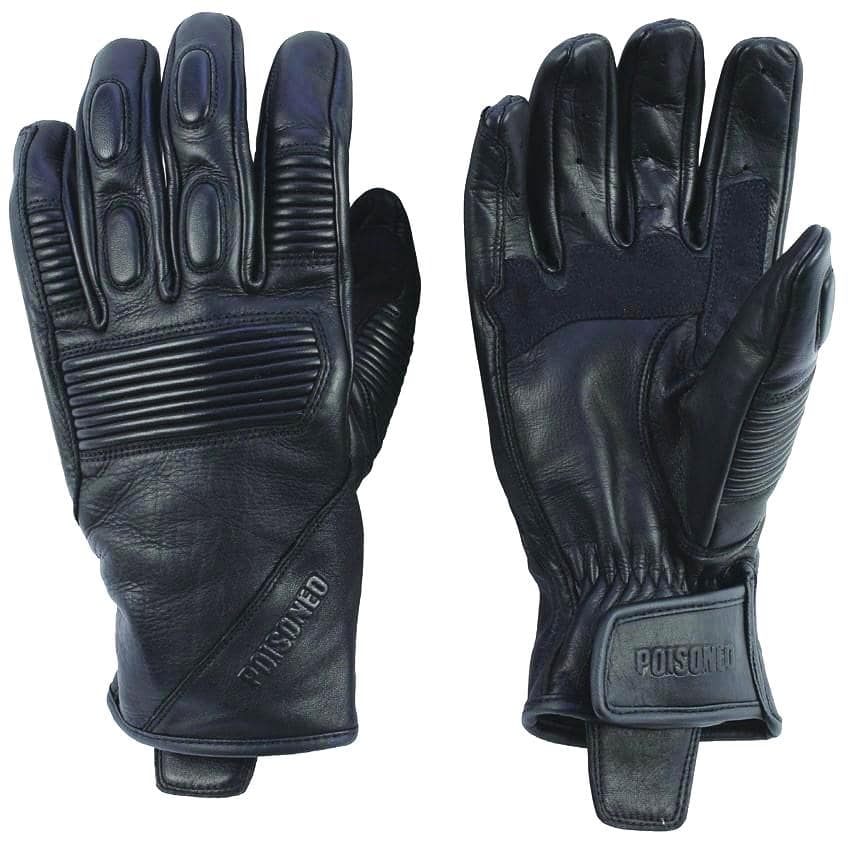 Poisoned Phantom Summer Motorcycle Leather Gloves - Black - DublinLeather