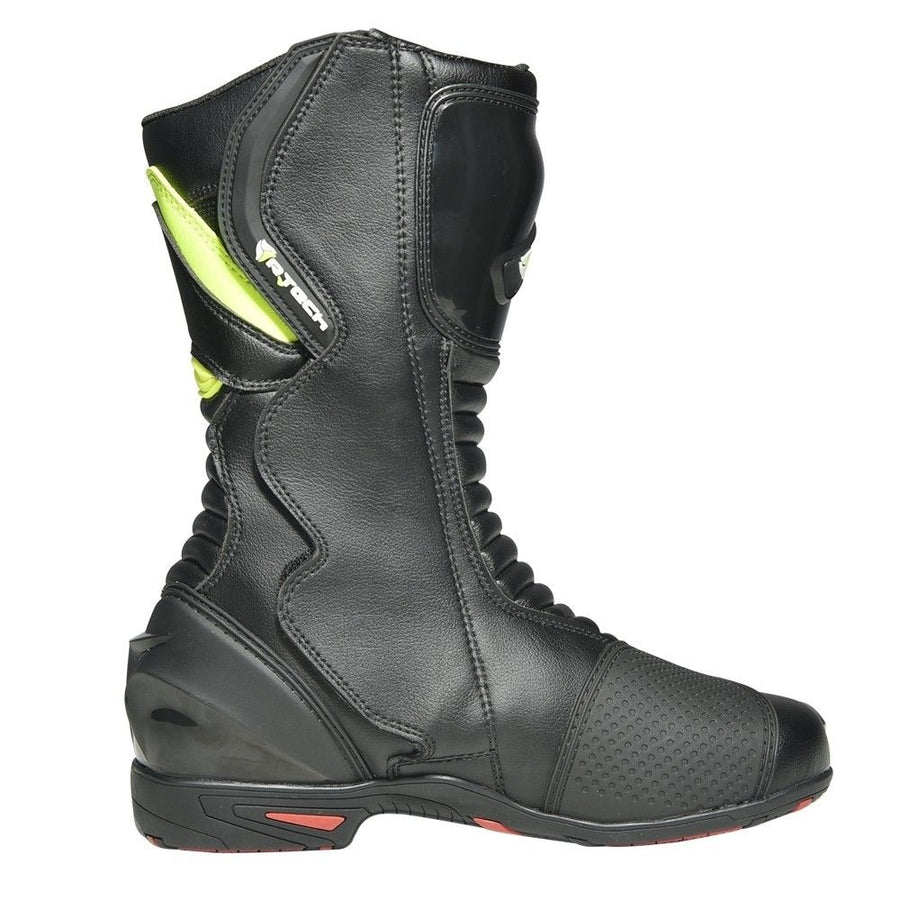 R-Tech Lady Pilot Motorcycle Boots - Black/Fluro Yellow - DublinLeather