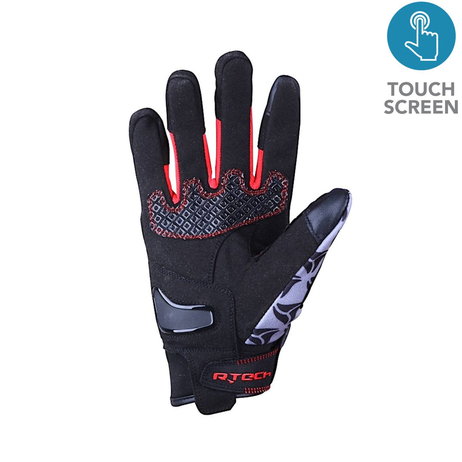 R-Tech Leopard Black/Red Touring Gloves - Touch Screen Textile - DublinLeather