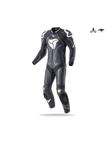 R-Tech Rising Star Motorcycle Cow/Kangaroo Leather Racing Suit - CE Certified - (Black/White) - DublinLeather