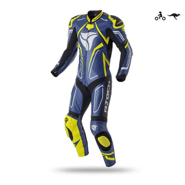 R-Tech Rising Star Motorcycle Cow/Kangaroo Leather Racing Suit Blue Fluro Yellow Dublin Ireland UK