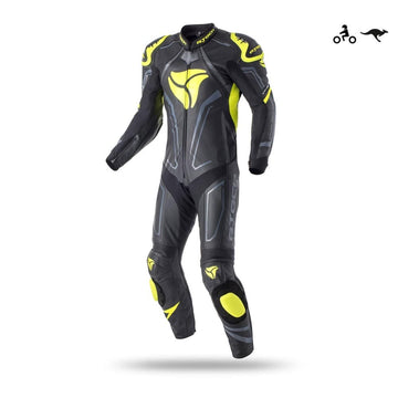 R-Tech Rising Star Motorcycle Cow/Kangaroo Leather Racing Suit Black Fluro Yellow Dublin Ireland UK
