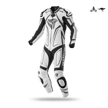 R-Tech Rising Star Motorcycle Cow/Kangaroo Leather Racing Suit (White/Black) - DublinLeather