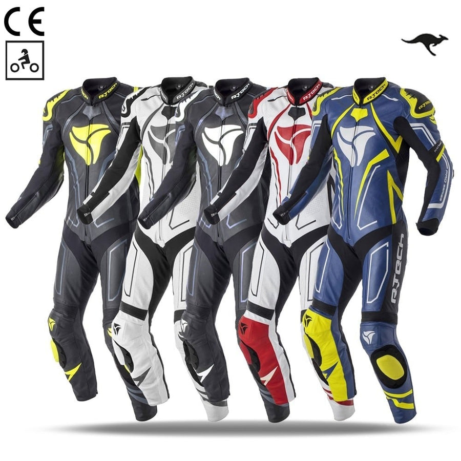 R-Tech Rising Star Motorcycle Cow/Kangaroo Leather Racing Suit - CE Certified - (White/Black/Red) - DublinLeather
