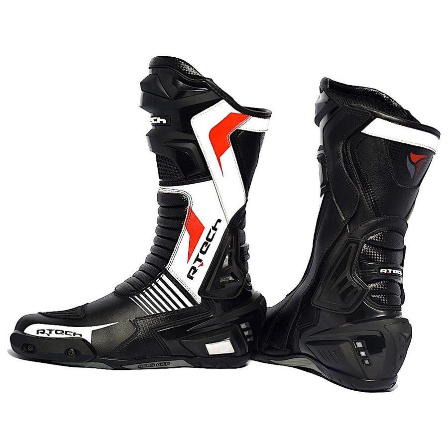 R-Tech Road Racer WaterProof Motorcycle Racing Leather Boots - Black/White - DublinLeather