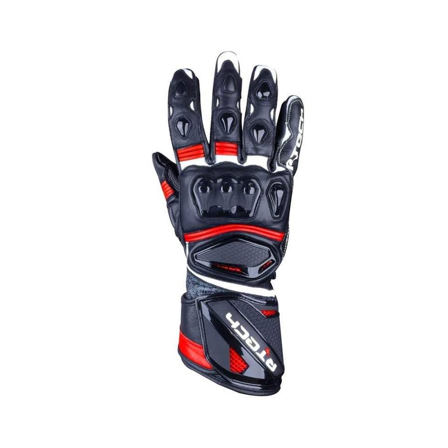 R-Tech Robo Lady Motorcycle Racing Leather Gloves (Black/Red) - Touch Screen - DublinLeather