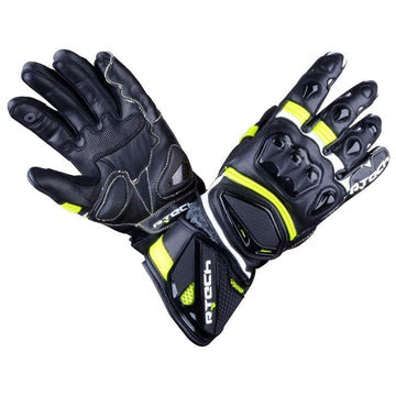 R-Tech Robo Lady Motorcycle Racing Leather Gloves (Black/Fluro Yellow) - Touch Screen Sale Online Dublin Leather Ireland UK Germany Europe