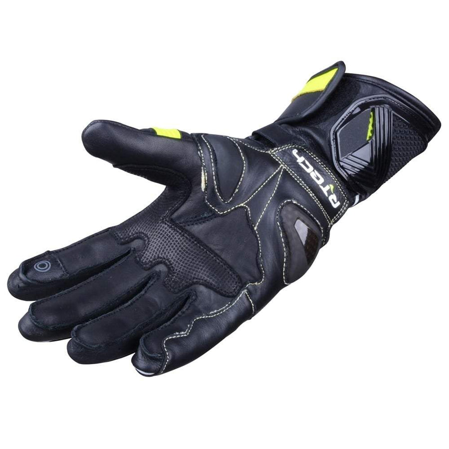 R-Tech Robo Lady Motorcycle Racing Leather Gloves (Black/Fluro Yellow) - Touch Screen - DublinLeather