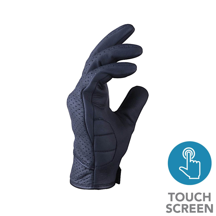 R-Tech Street Men's Black Bikers Leather Gloves - Touch Screen - DublinLeather