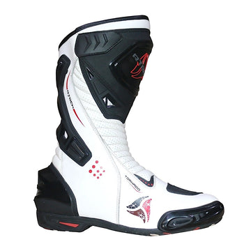 R-Tech Tornado Unisex Waterproof Motorcycle Racing Style Boots - White - DublinLeather