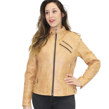 R-Tech Bold Lady Leather Motorbike Jacket - Tan - DublinLeather