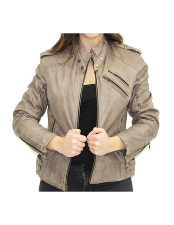 R-Tech Bold Lady Leather Motorbike Jacket - Taupe - DublinLeather