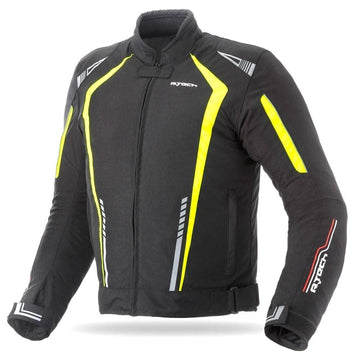 R-Tech Marshal Motorcycle Textile Jacket - Black/Fluro Yellow - DublinLeather