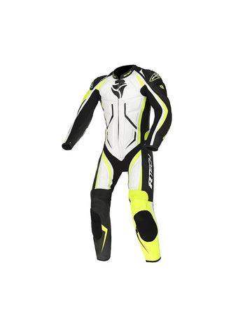 RTech Defender 1Pc Motorcycle GP Racing Suit - White/Fluro Yellow/Black