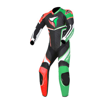 RTech Hawk Mens One Piece Premium Cowhide Motorcycle Suit - Black/Green/Red