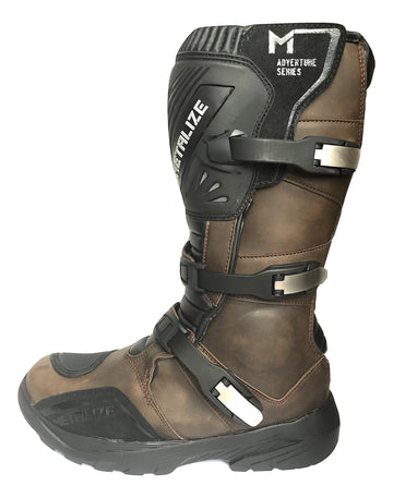 Saiko Metalize Adventure Waterproof Motorcycle Long Boots - Brown - DublinLeather