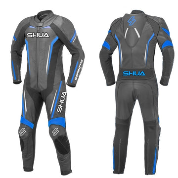 Shua Infinity 1PC Motorcycle Premium Leather Racing Suit (Black/Blue) - DublinLeather