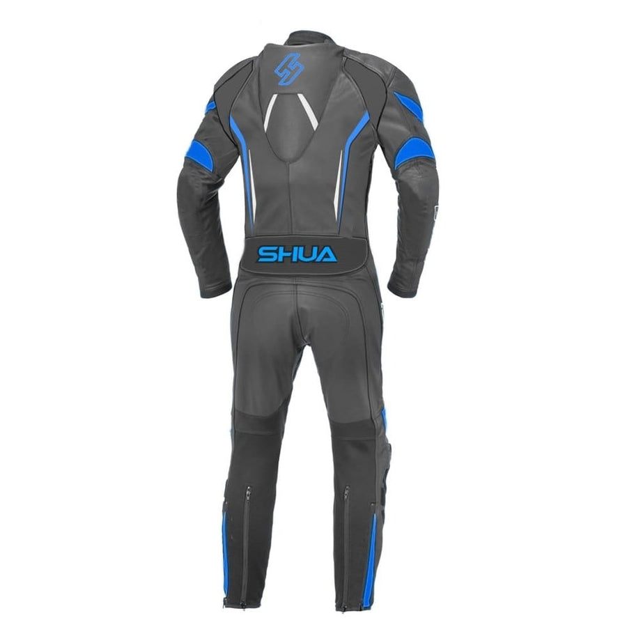 Shua Infinity 1PC Motorcycle Premium Buffalo Leather Suit- CE Certified - (Black/Blue) - DublinLeather
