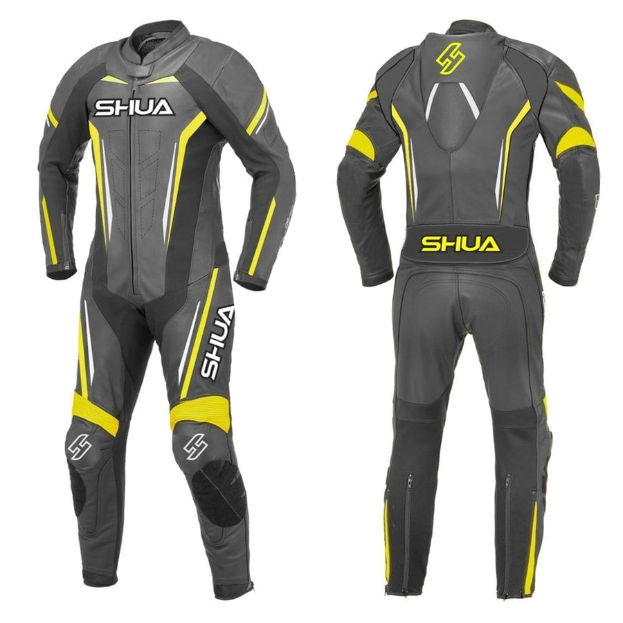 Shua Infinity 1PC Motorcycle Premium Buffalo Leather Suit - CE Certified - (Black/Fluorescent Yellow) - DublinLeather