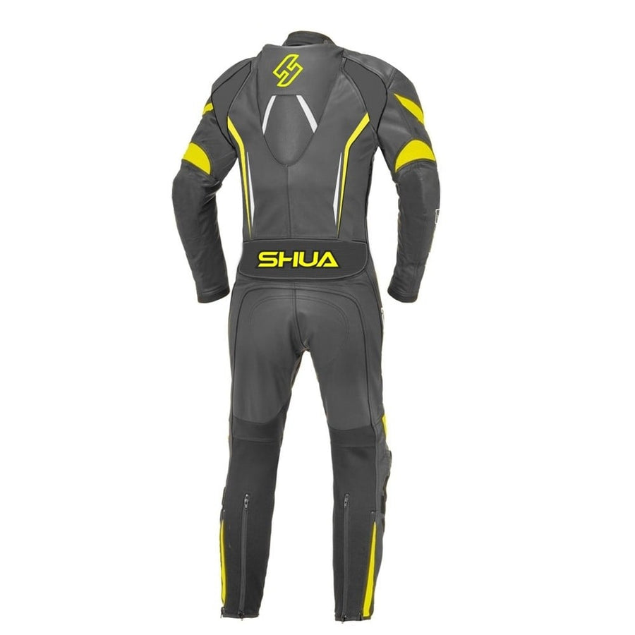 Shua Infinity 1PC Motorcycle Premium Buffalo Leather Racing Suit - CE Certified - (Black/Fluorescent Yellow) - DublinLeather