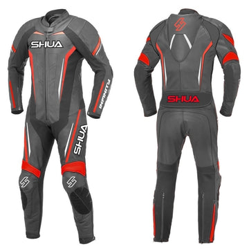 Shua Infinity 1PC Motorcycle Premium Leather Racing Suit (Black/Red) - DublinLeather