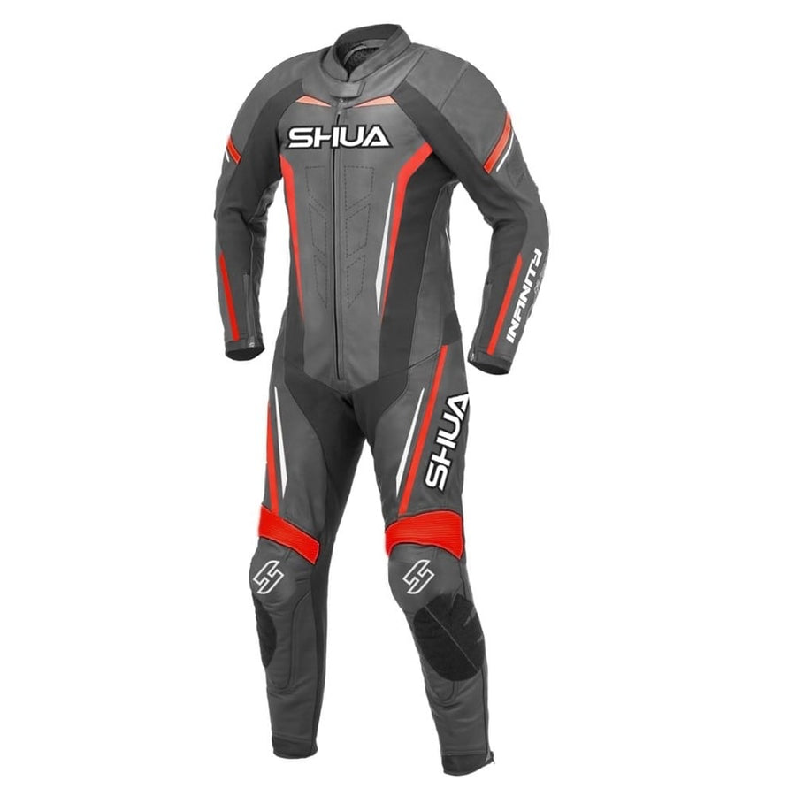 Shua Infinity 1PC Motorcycle Premium Buffalo Leather Racing Suit - CE Certified - (Black/Red) - DublinLeather
