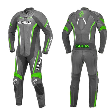 Shua Infinity 1pc Motorcycle Premium Buffalo Leather Suit - CE Certified - (Black/Green) - DublinLeather