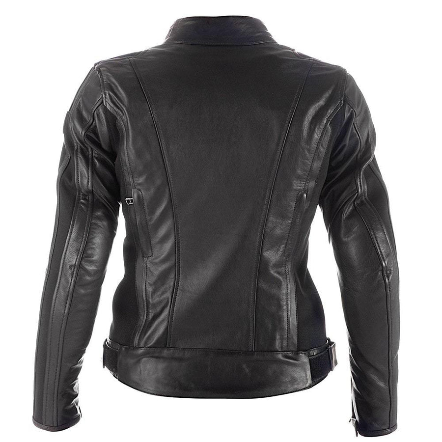 Spyke Stripe Lady GP Cowhide Leather Motorbike Jacket - Black - DublinLeather