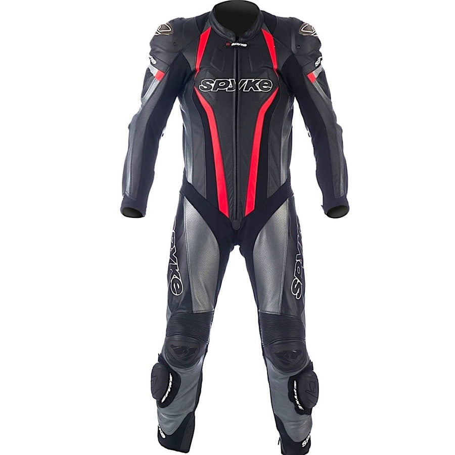 Spyke Top Sport Motorcycle Cow/Kangaroo Leather Racing Suit (Black/Anthracite/Red) - DublinLeather