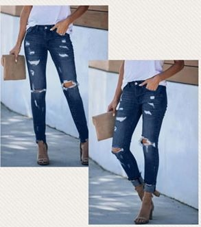 Stefanie - Distressed Frayed Ankle Jean