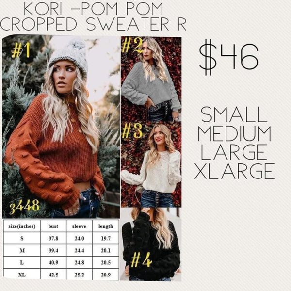 Kori - Pom Pom Cropped Sweater